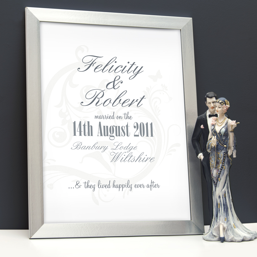 Happily Ever After Personalised Wedding Word Art Print